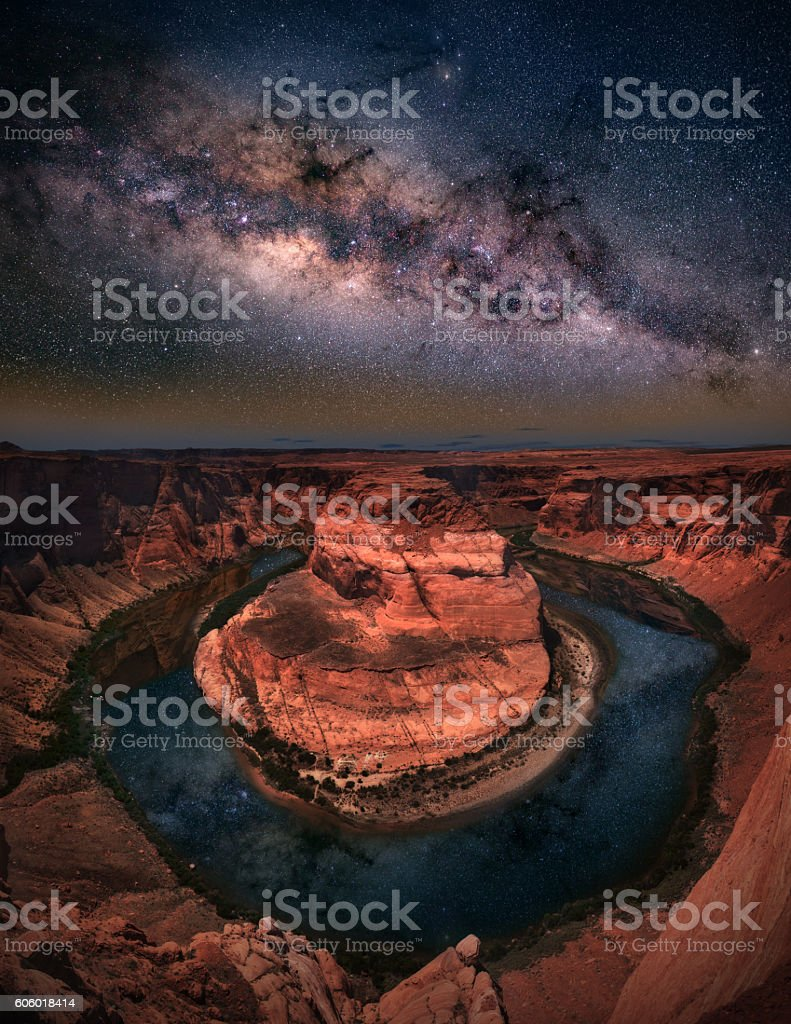 Horseshoe bend with milkyway stock photo