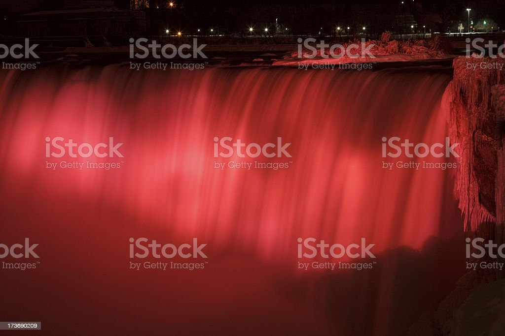 Horseshoe Falls at night stock photo