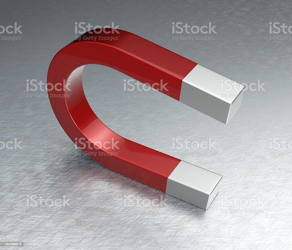 Horseshoe Magnet on Steel stock photo