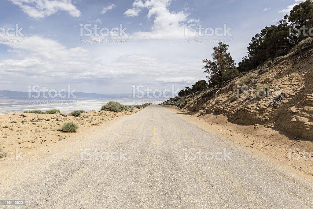 Horseshoe Meadow Road above Owens Dry lake stock photo