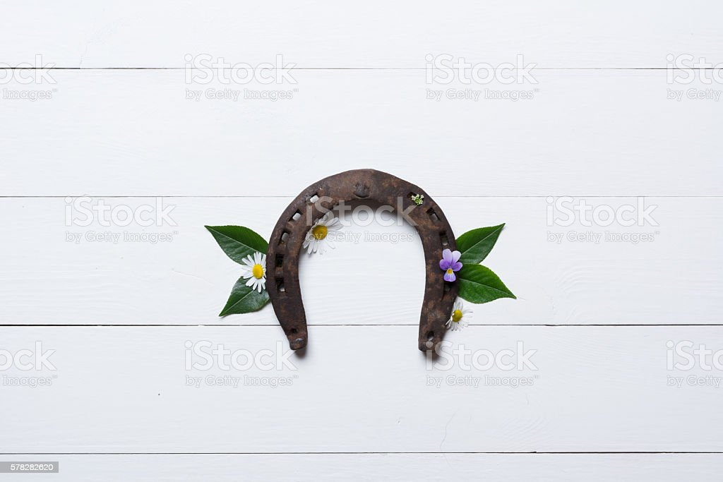 Horseshoe, used and with rust, on white painted wood stock photo
