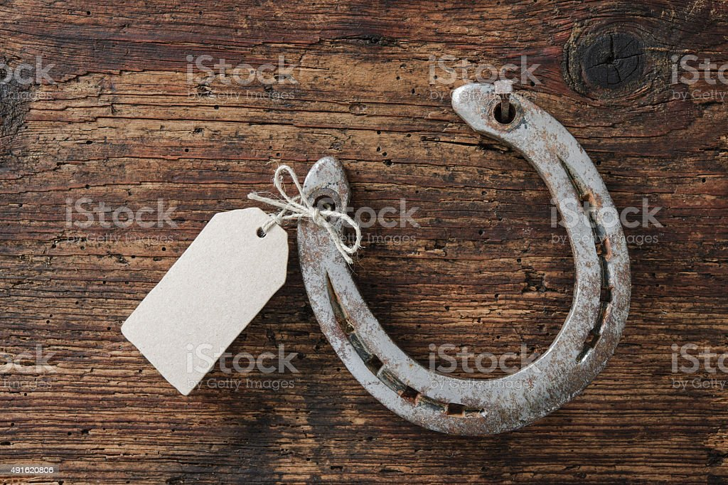 Horseshoe with an empty tag stock photo