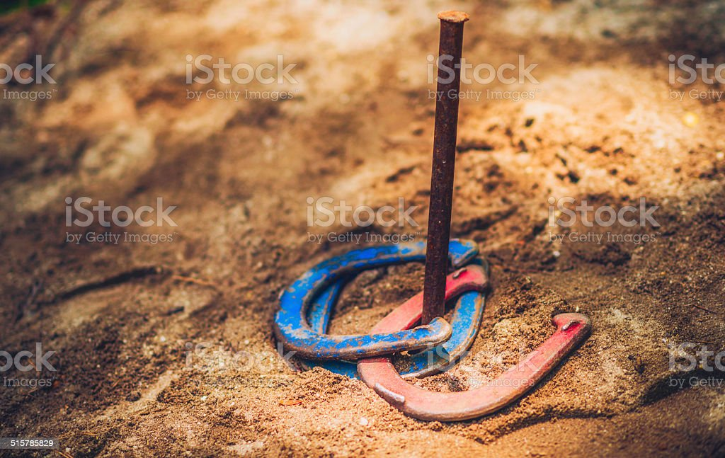 Horseshoes in Sand stock photo
