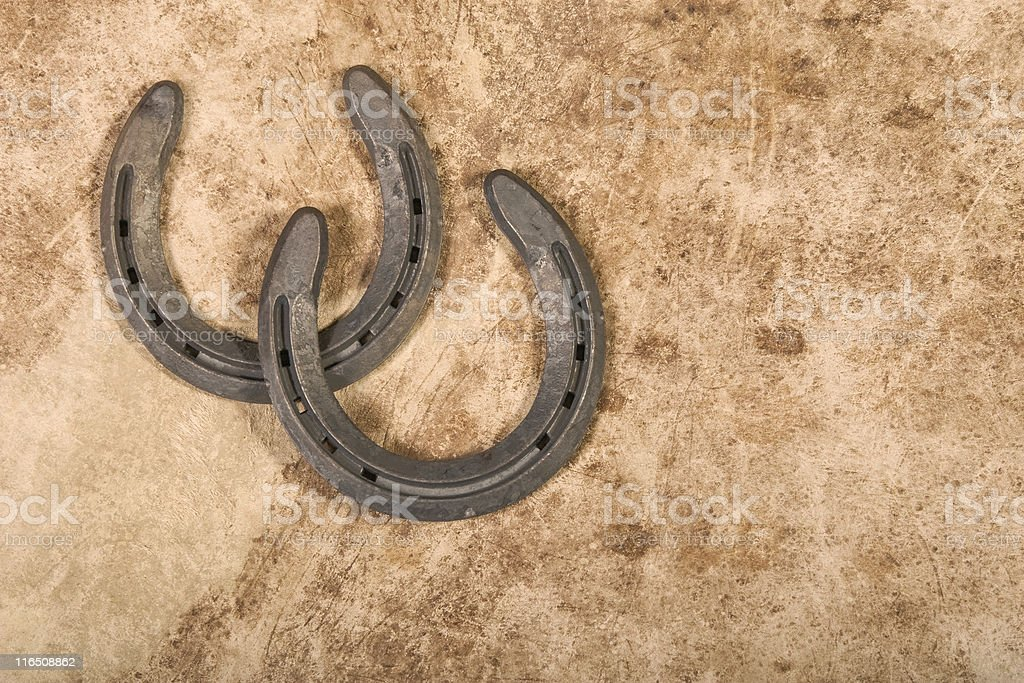 Horseshoes on Cowhide royalty-free stock photo