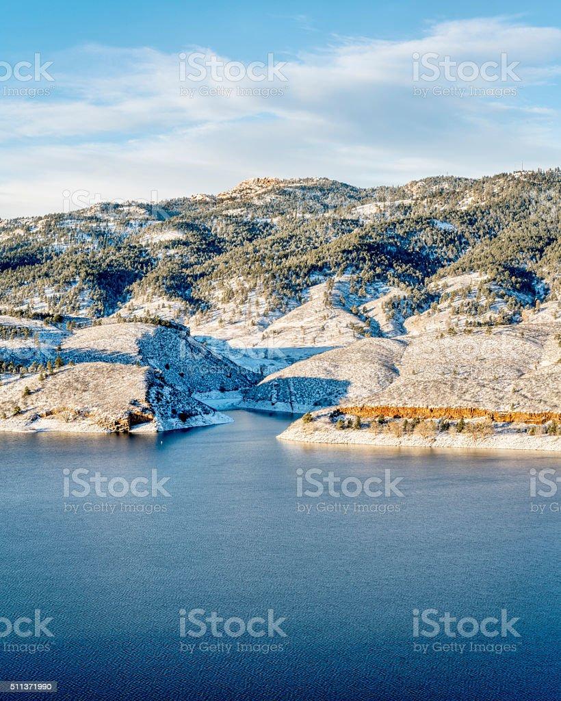 Horsetooth Reservoir and Rock stock photo