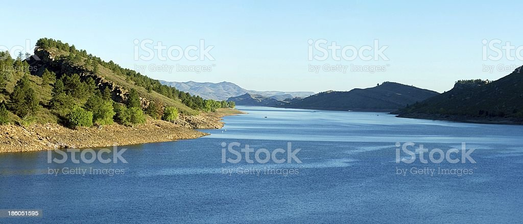 Horsetooth reservoir Fort Collins Panoramic view looking north stock photo
