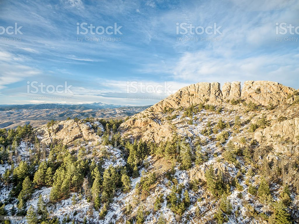 Horsetooth Rock in winter stock photo