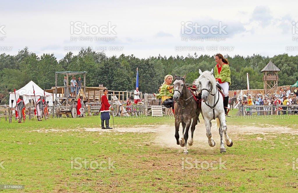 Horsewoman at historic reconstruction of Kievan Rus' stock photo