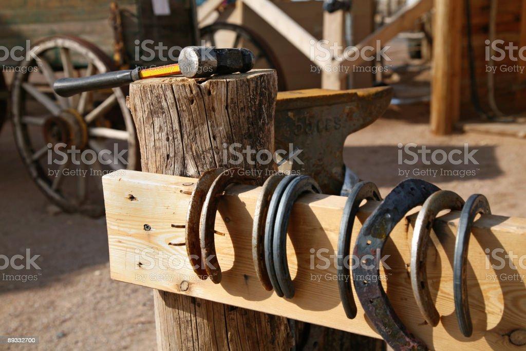 Horsheshoes on the fence stock photo