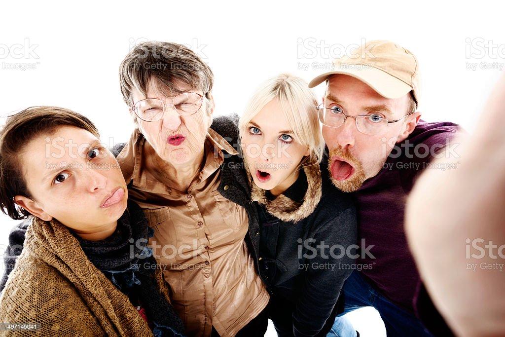Horsing around to take four foolish selfies stock photo