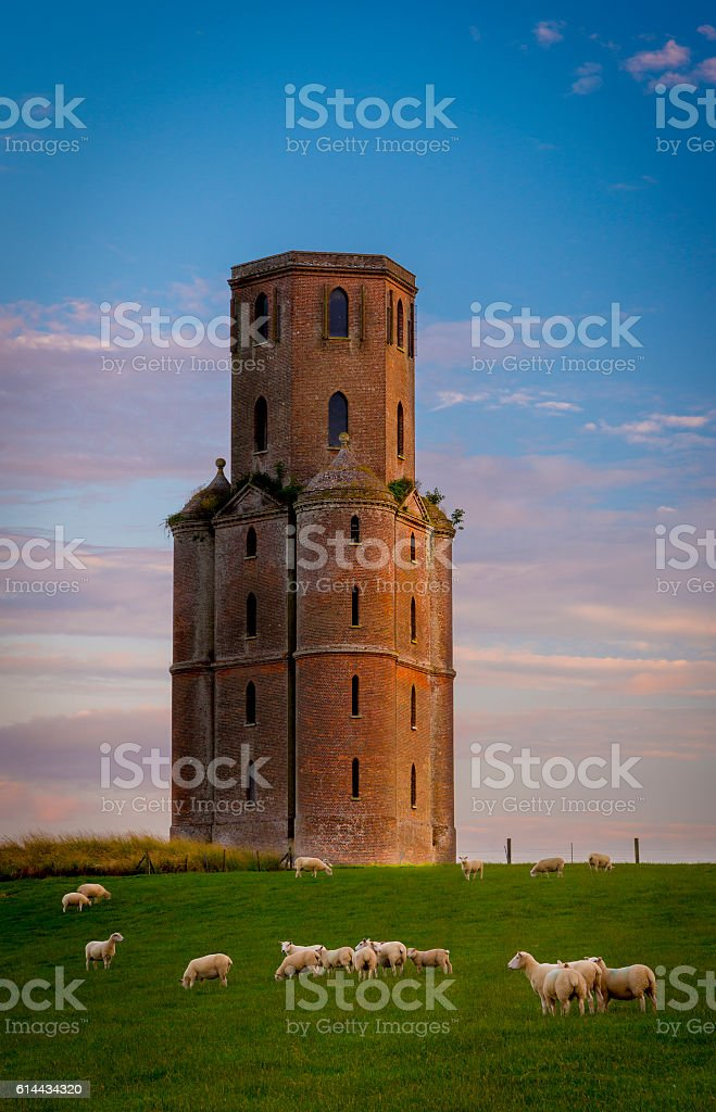 Horton Tower, a folly in East Dorset at sunset stock photo