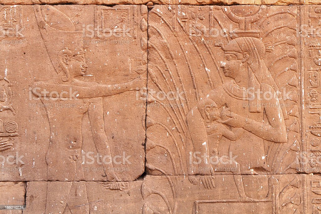Horus Suckled by Isis, Birth House, Edfu Temple, Egypt stock photo