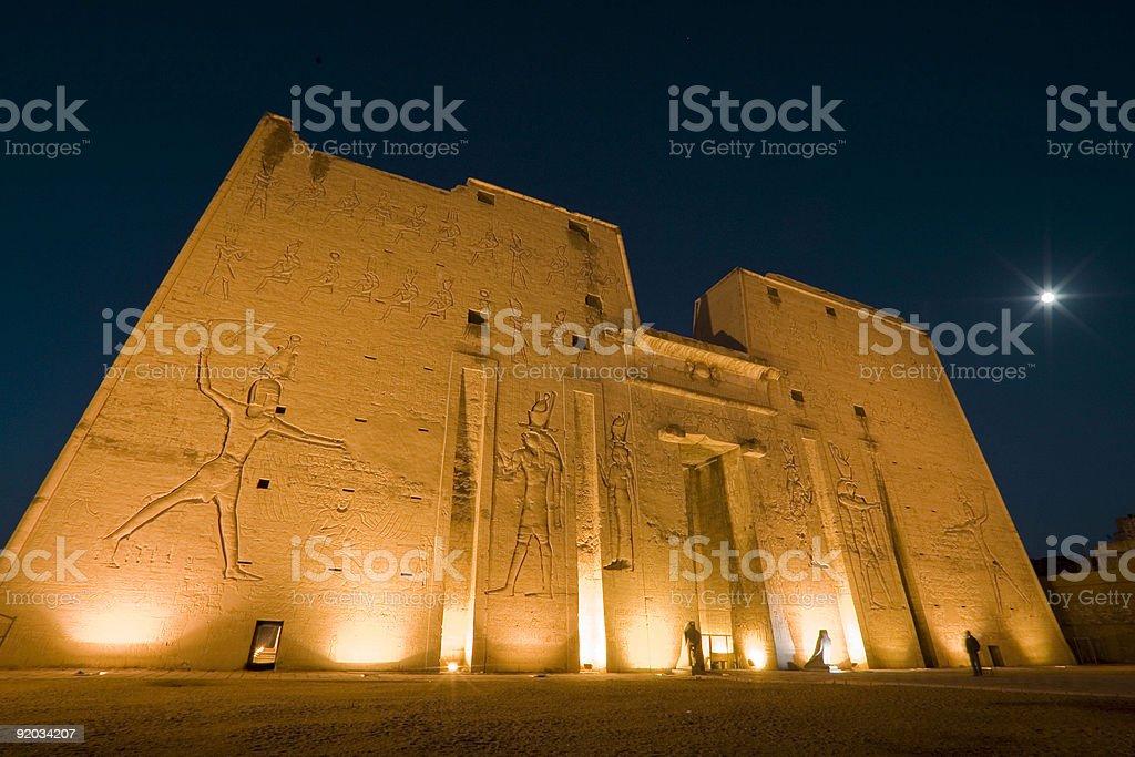 Horus Temple at night stock photo