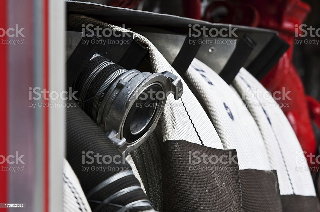 hoses of Fire Truck royalty-free stock photo