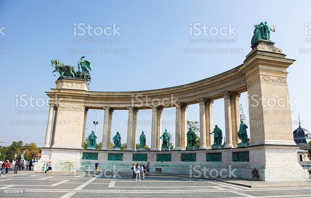 Hosok Tere or Heroes Square in Budapest, Hungary stock photo