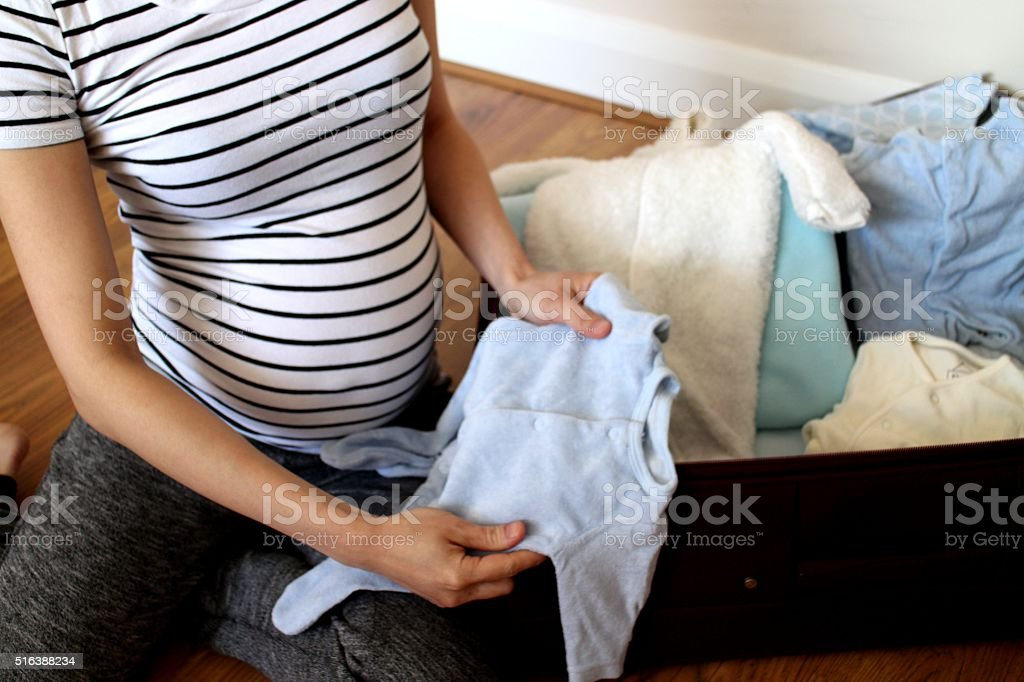 Hospital bag for baby and mum stock photo