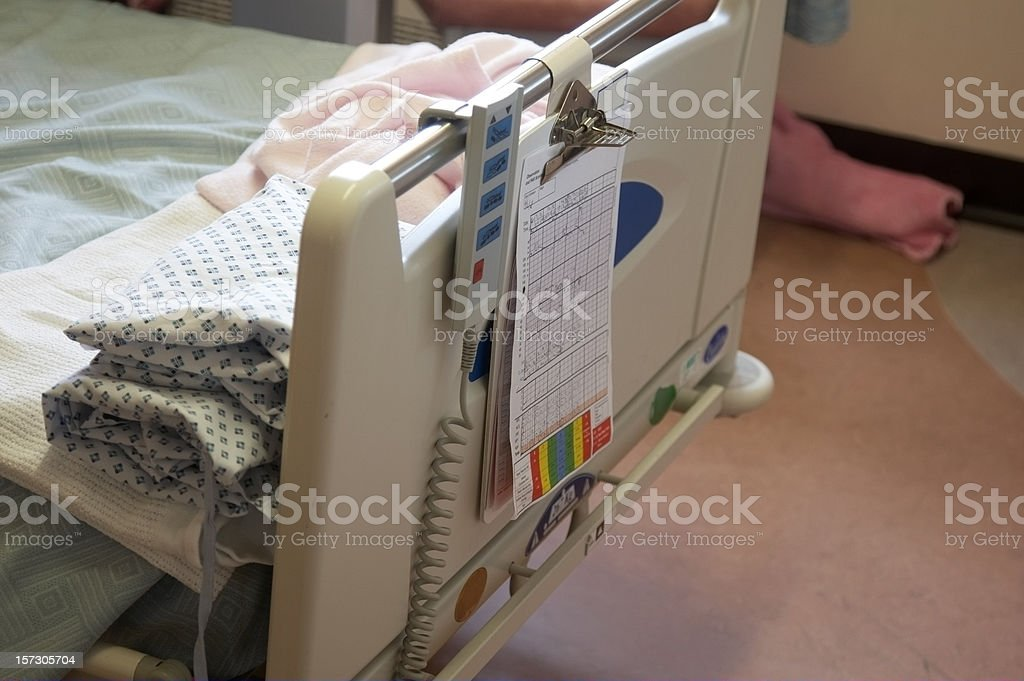 Hospital bed end patient chart stock photo