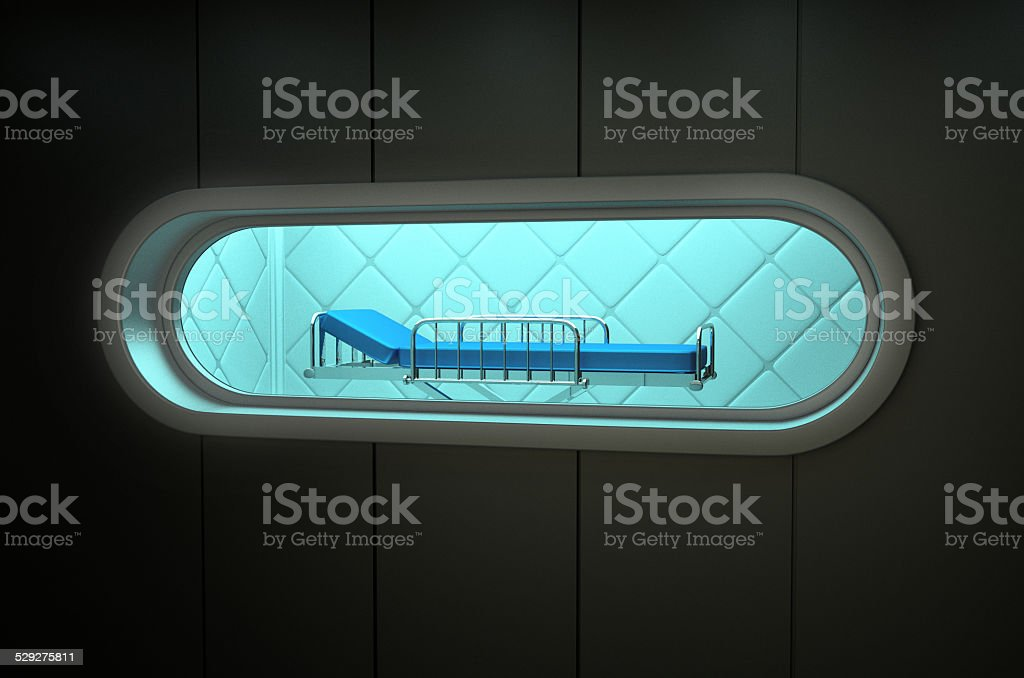 hospital bed isolation room stock photo