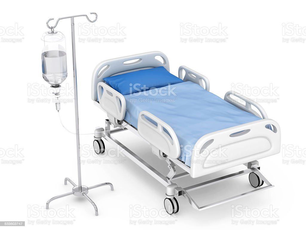Hospital bed with IV drip stock photo