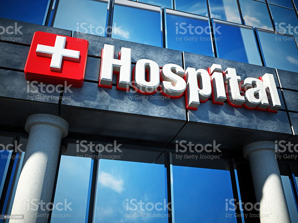 Hospital building exterior and hospital sign stock photo