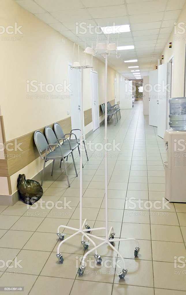 Hospital corridor interior without sicks royalty-free stock photo