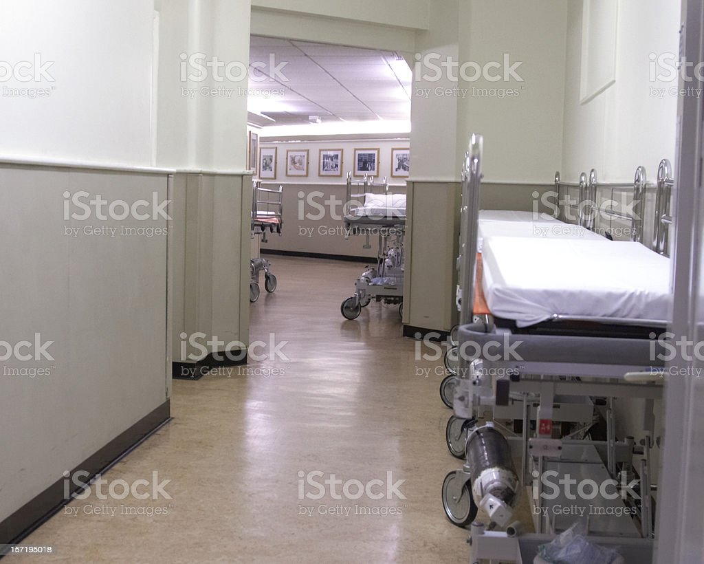 Hospital corridor with gurneys royalty-free stock photo