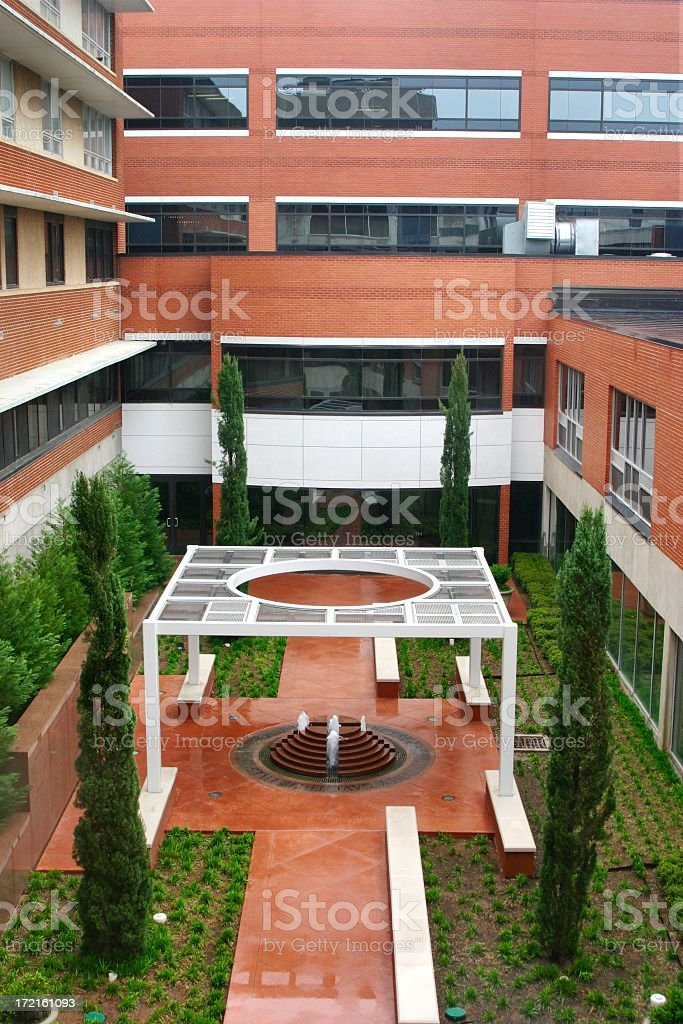 Hospital Courtyard with fountain stock photo