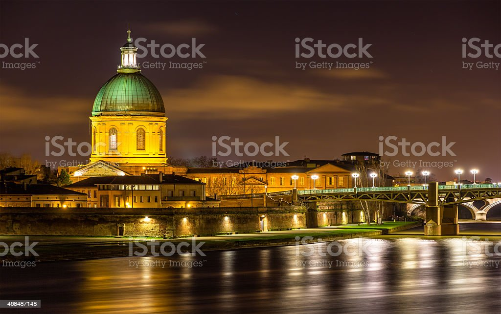 Hospital de La Grave in Toulouse by night stock photo
