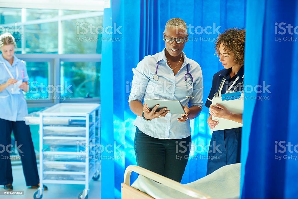 hospital doctor's rounds stock photo
