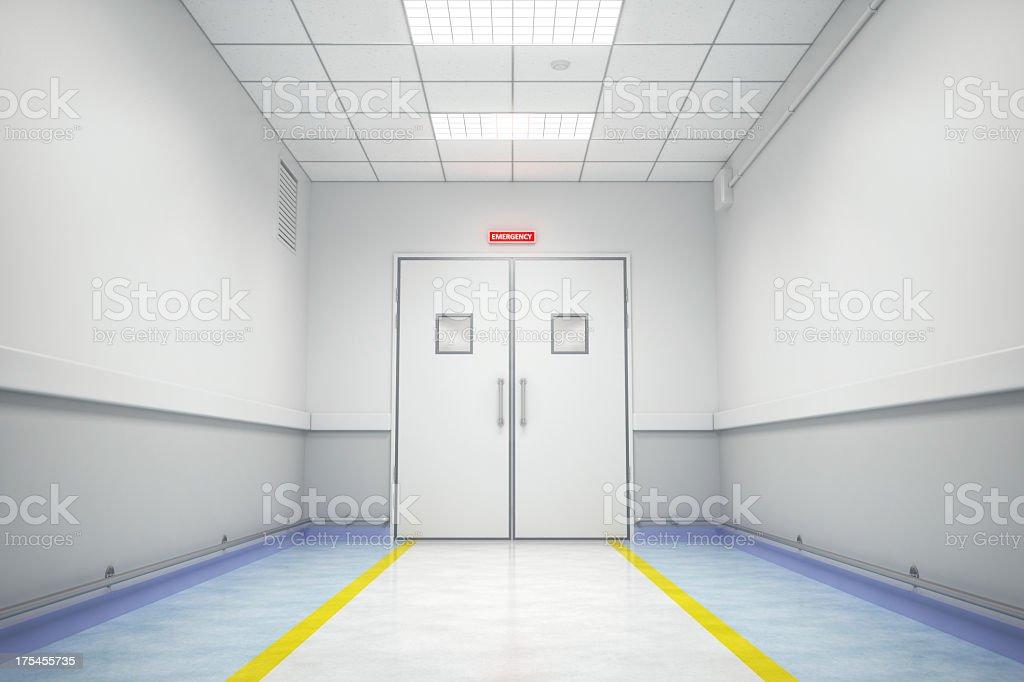 Hospital emergency room entrance interior.