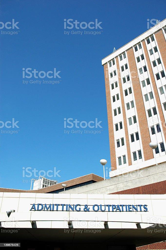 Hospital exterior - admitting stock photo