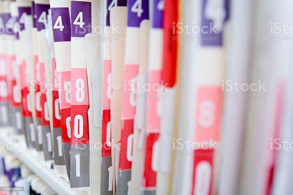 Hospital files stock photo
