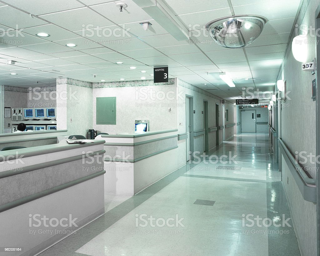 Hospital hallway and desk in New York City stock photo