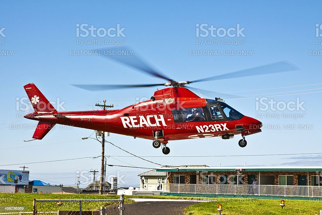 Hospital Helicopter Takeoff stock photo
