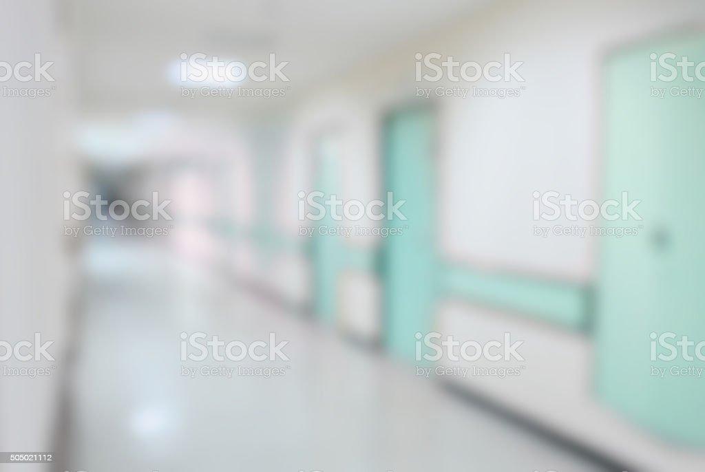 hospital interior corridor blurred background stock photo