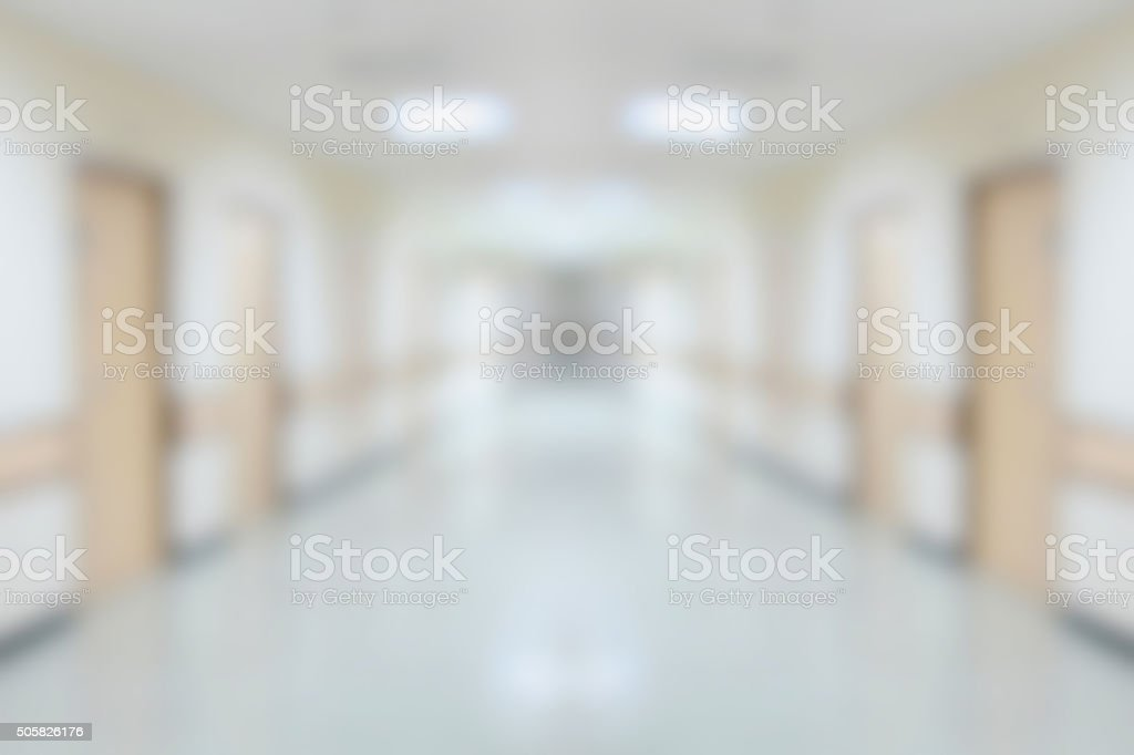 hospital interior corridor blurred background stock photo