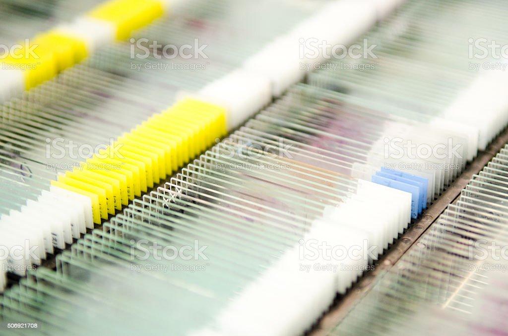 Hospital laboratory pathology test slides stock photo