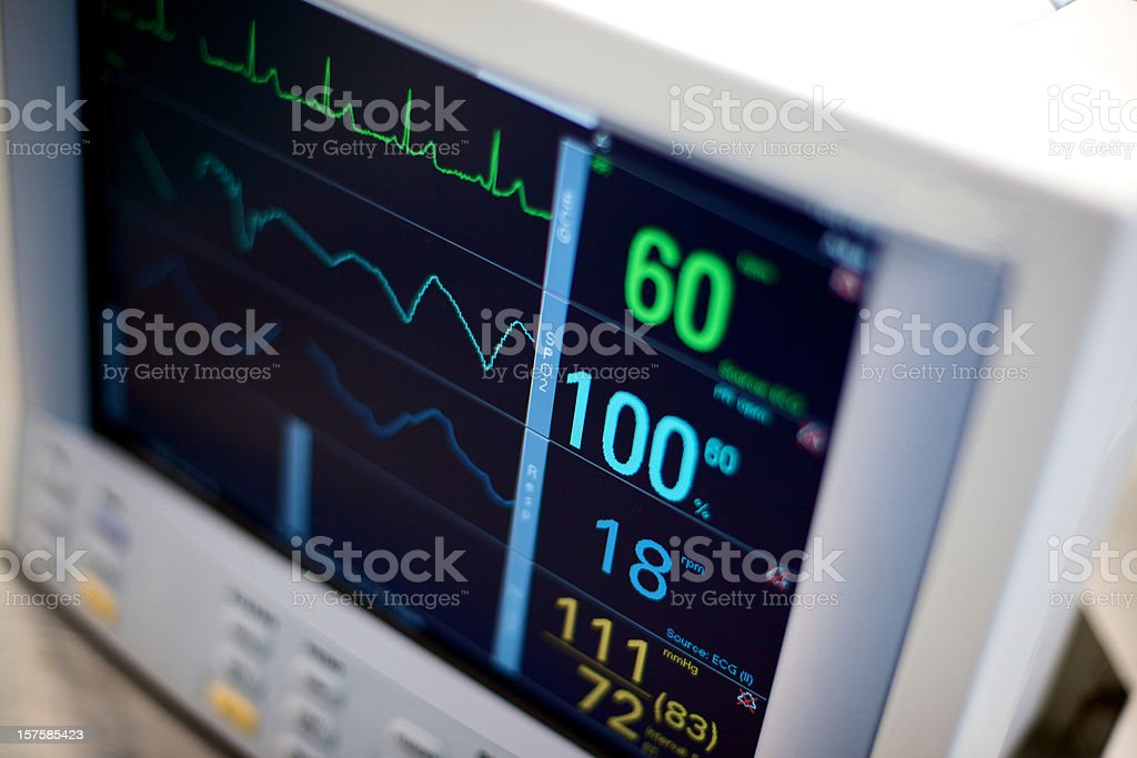 EKG hospital medical equipment vital statistics stock photo