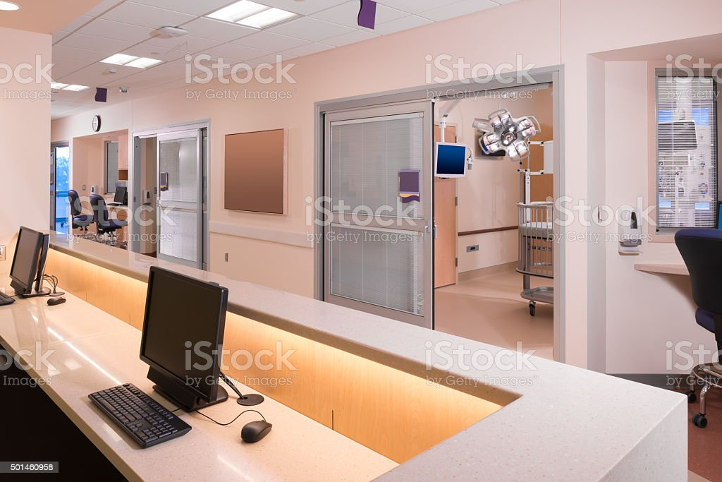 Hospital Nurses Station View stock photo
