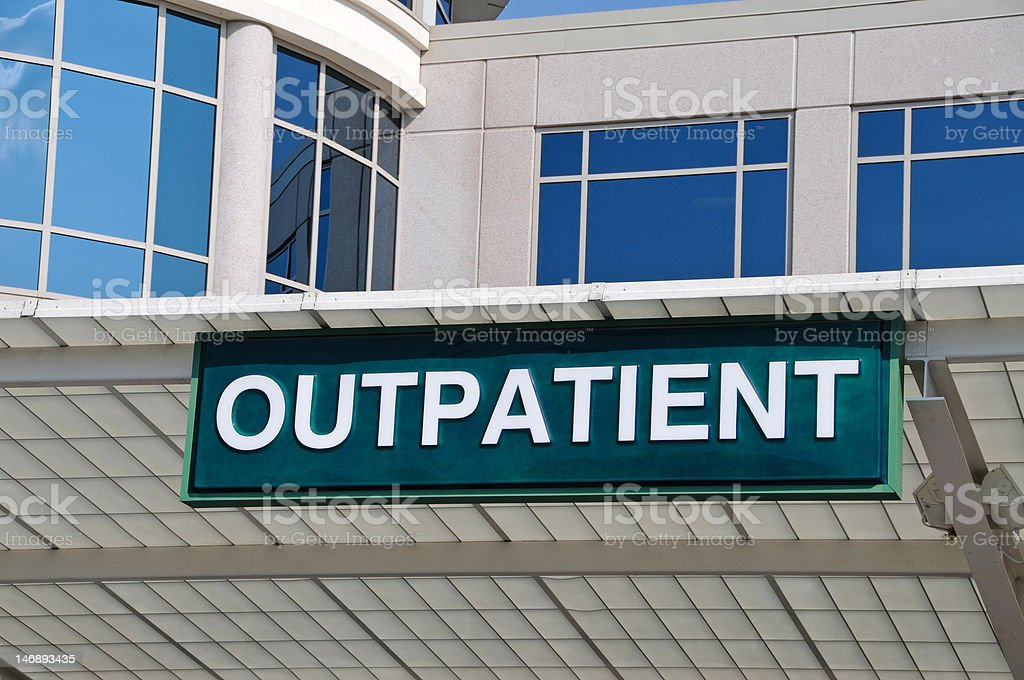 Hospital Outpatient Entrance Sign stock photo