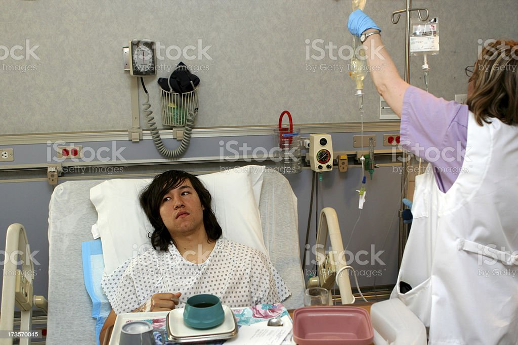 Hospital Patient With Nurse stock photo