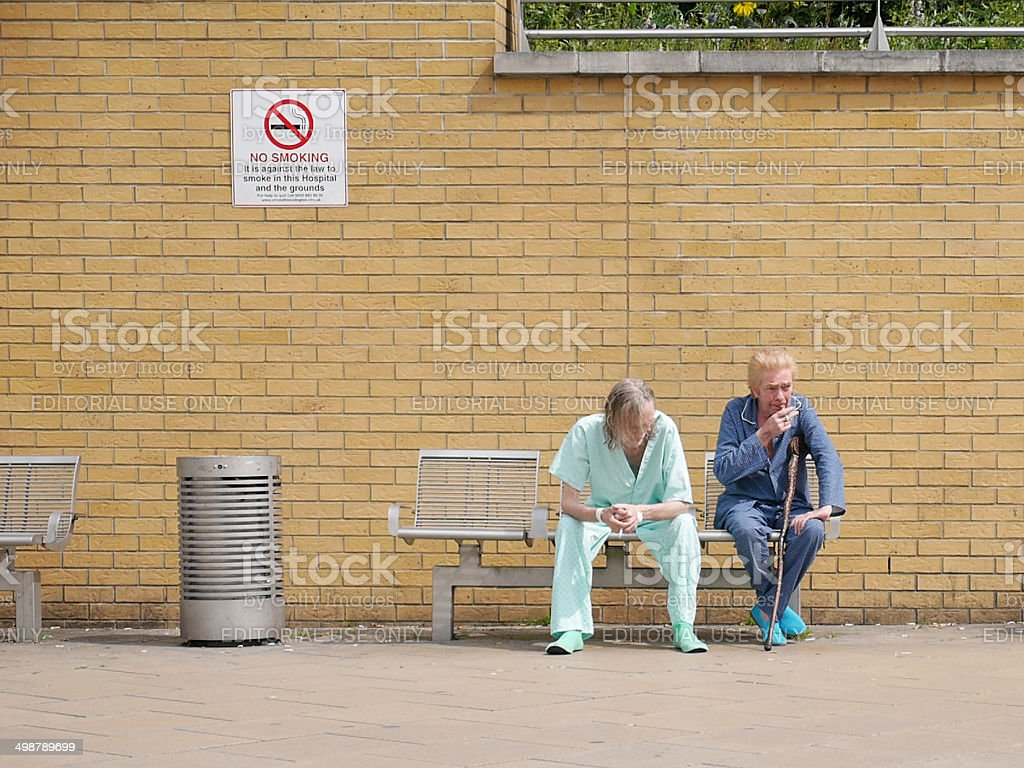 Hospital Patients Smoking stock photo