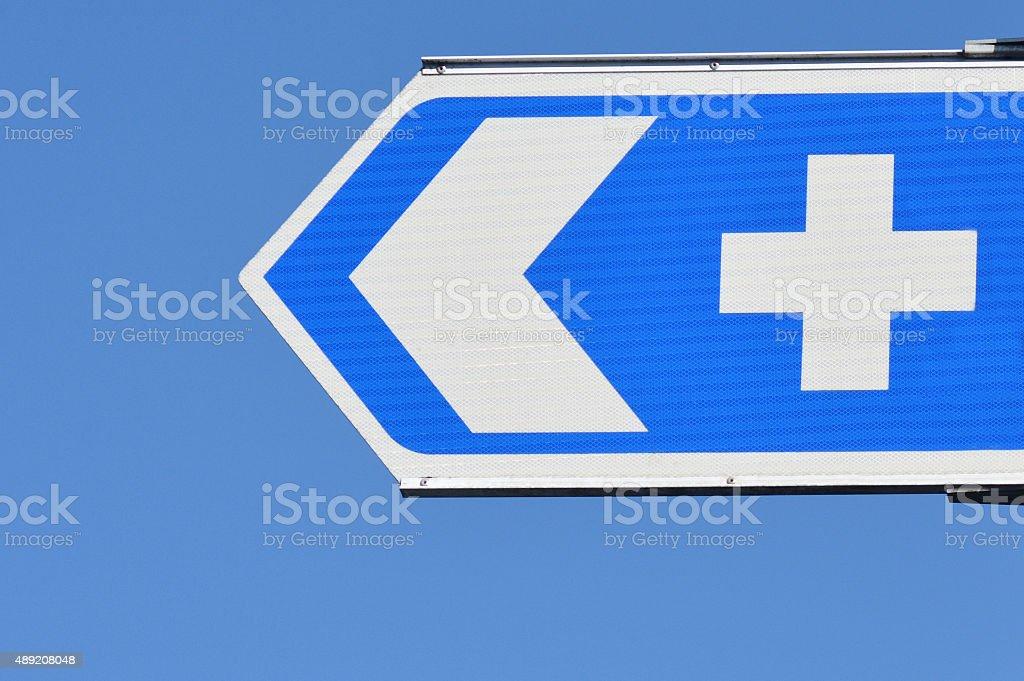 Hospital road sign stock photo