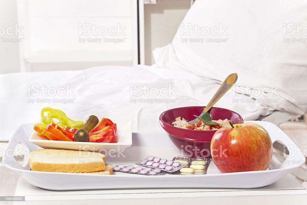 hospital room and food stock photo