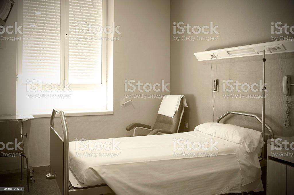 Hospital room interior in sepia tone stock photo