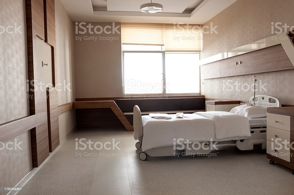 Hospital room with empty occupancy stock photo