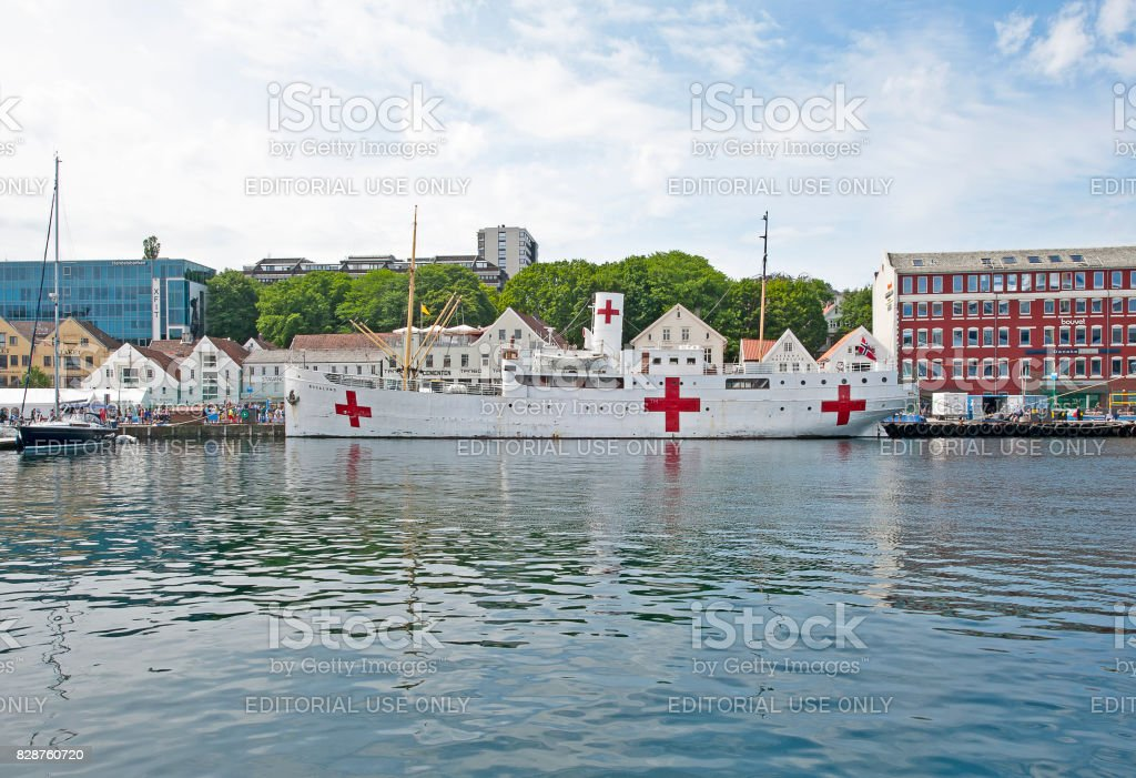 Hospital ship and quayside, Stavanger, Norway stock photo