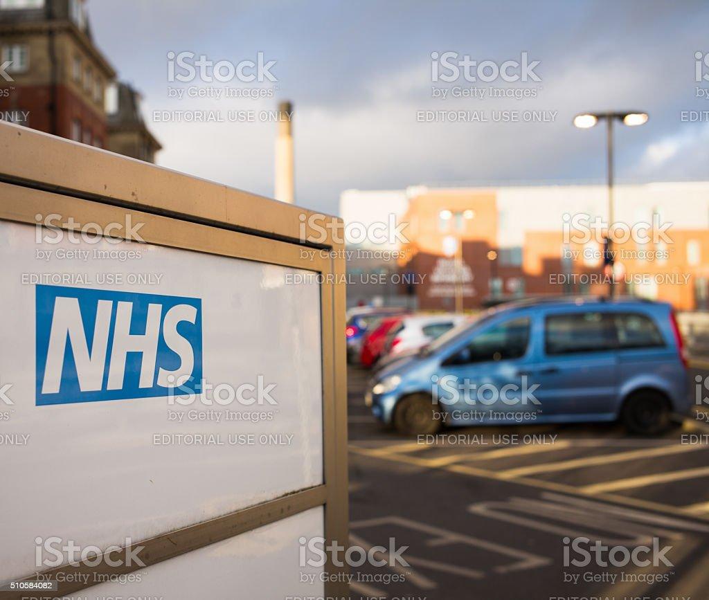 NHS Hospital Sign stock photo