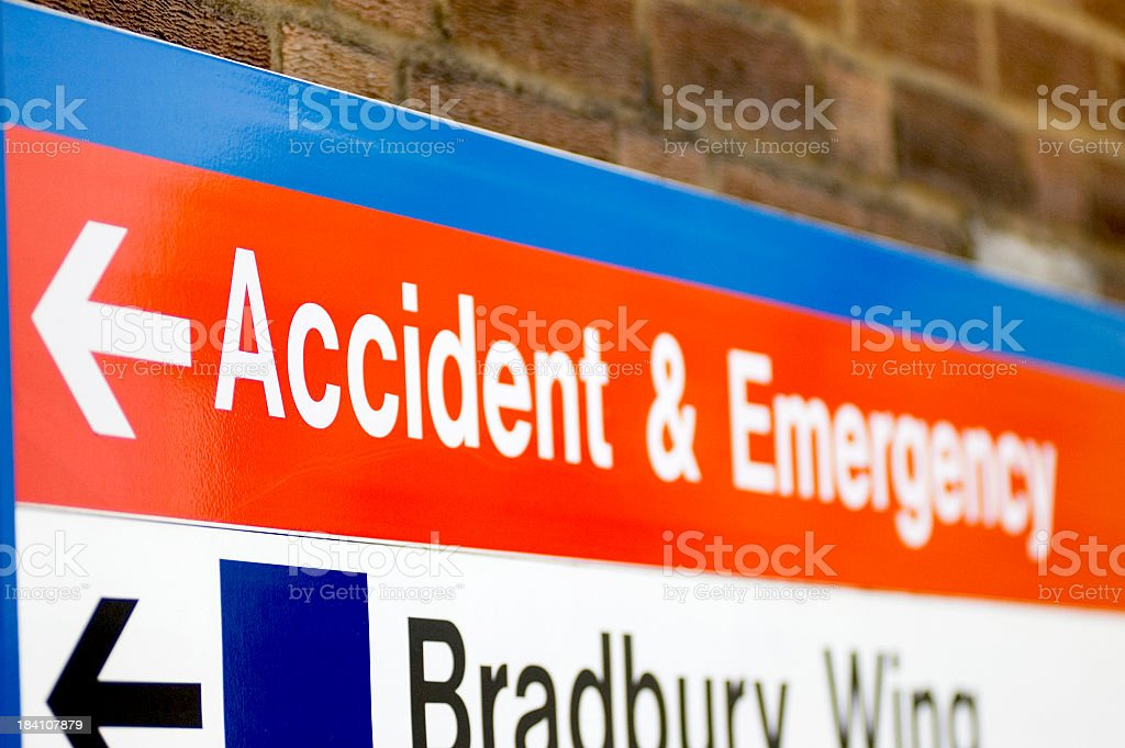 Hospital sign pointing to accident & emergency royalty-free stock photo