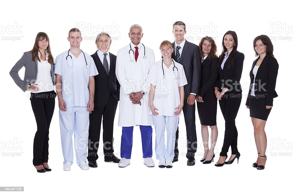 Hospital staff group stock photo